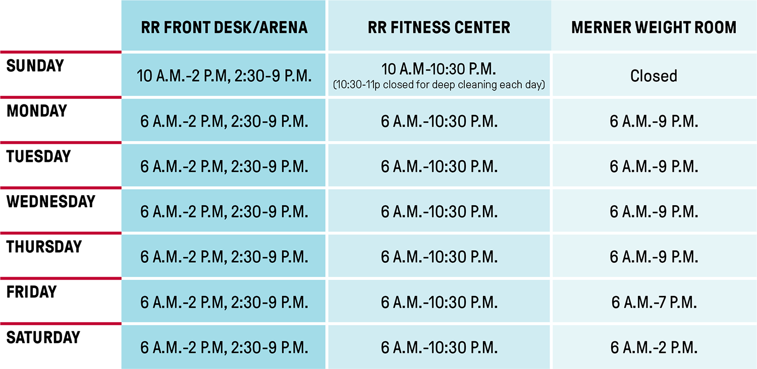 fitness facilities hours of operation